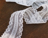 Valenciennes French Lace  Trim 1 and 1/2 inches wide Vintage Cotton 1 3/4 yards