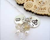 Bumble Bee necklace - Hand stamped charms necklaces