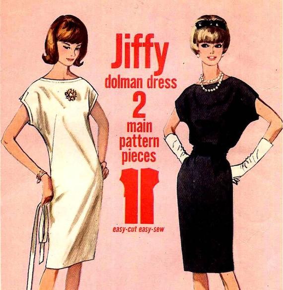 1960s Jiffy Easy Shift Dress Sewing Pattern Simplicity 5886 Dolman Sleeve Sack Dress Bust 34