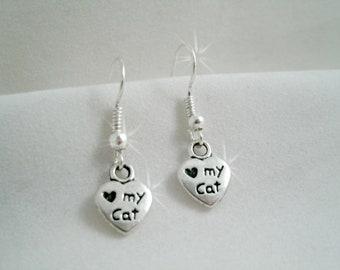 Tiny Heart Love My Cat Earrings