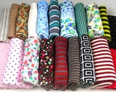 Small Print Fabric Stretch Knit Cotton Jersey 10 Pc Mini Print Fabrics You Pick Mix Ideal for Doll Socks