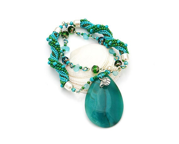 """Crochet Bead Necklace With Teal Agate Pendant  """"Ocean Breeze"""""""