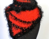 Scarf Red & Black Triangle Scarf -  Oh Miss Scarlett  - RESERVED