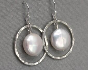 Pearl Drop Earrings, Hammered Silver and Freshwater Coin Pearl Earrings, Hoop Earring, Sterling Silver Earrings