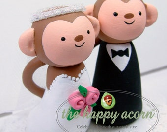 Monkey Wedding Cake Topper Monkeys Handmade by The Happy Acorn