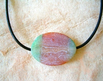 Weathered Agate on Leather Choker