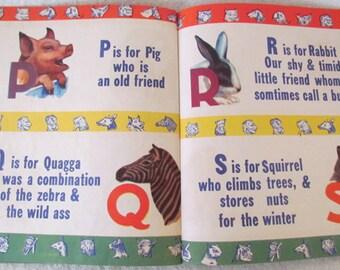 Vintage Alphabet Book of Animals A B C Letters c1944  M1124