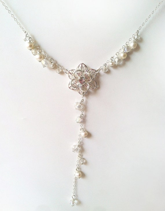 Bridal Necklace, Crystal wedding jewelry, Pearl drop necklace, wedding necklace, Y-necklace, Irina