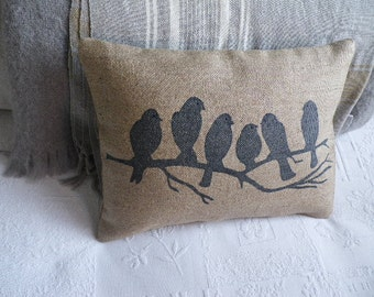 hand printed  midnight blue rustic birds on a branch cushion