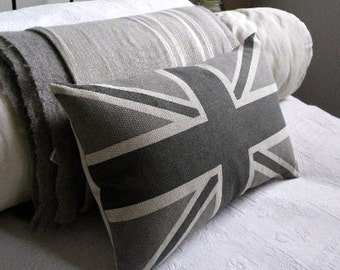 hand printed  classic greys union jack flag cushion cover