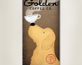 GOLDEN RETRIEVER Coffee Company Canvas Wall Art  inches Signed