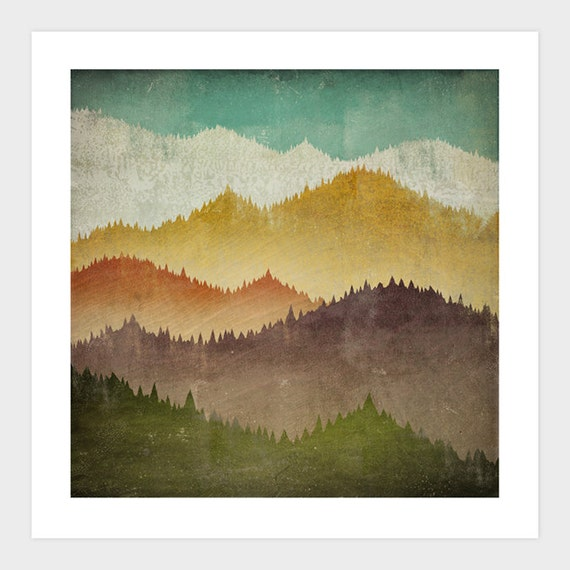 MOUNTAIN VIEW Smoky Mountains Green Mountains graphic art Giclee print 7x7 inches SIGNED