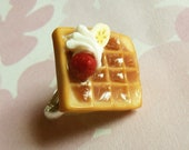 polymer clay strawberry banana cream waffle ring
