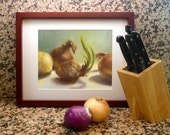Yellow Onions on Grey Jade reproduction of still life painting // archival art print oil painting  // kitchen art gift Ready to Frame