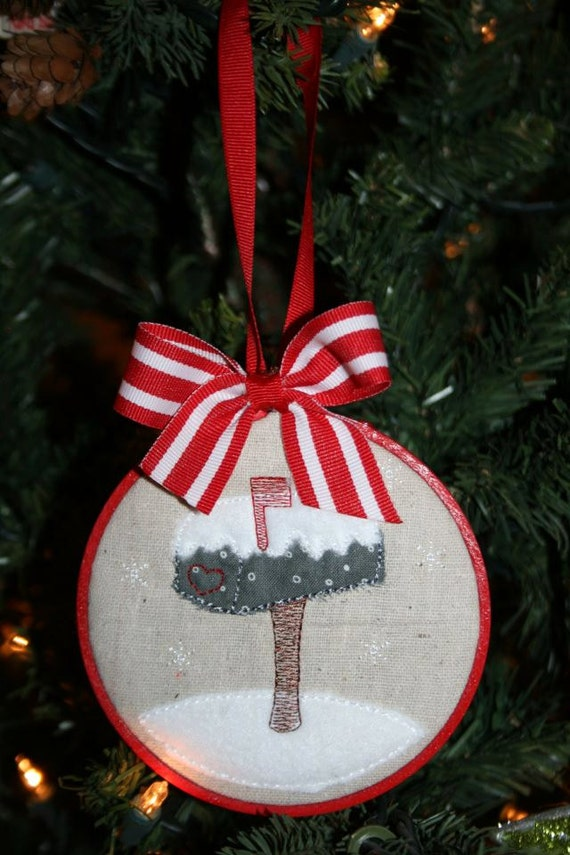 READY TO SHIP, embroidery hoop ornament, christmas ornament, new home ...
