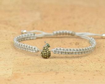 Sterling silver pear charm bracelet