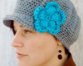 Crochet Newsboy Hat with Flower - You Choose Colors