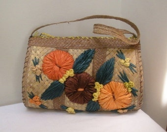 Vintage 1960s Summer Straw Flowered Purse