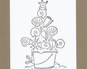 Shellabrate the Season - Color Your Own Christmas Cards - Set of 4 - Beachy Christmas Greetings