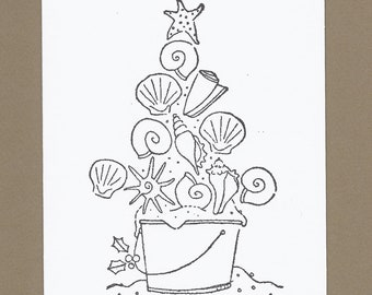 Shellabrate the Season - Set of 4 Color Your Own Beachy Christmas Cards - Ask 4 Teacher Price - Beach Holiday Coloring Cards, Shell Cards
