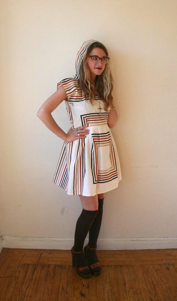 RESERVED Hooded Geometric Striped Mini Dress Sz S