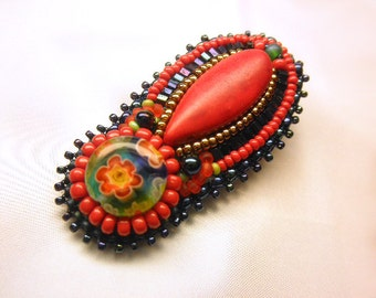 BRIGHT RED --  Coral Milleflori Glass Beaded Alligator Hair Clip