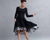 Black High Low Midi Dress -women linen dress with Long Sleeves and Black & White Chiffon Ruffle (277)