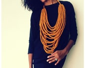 "PROSPERITY---chunky chain crocheted fiber necklace in ""spice"""
