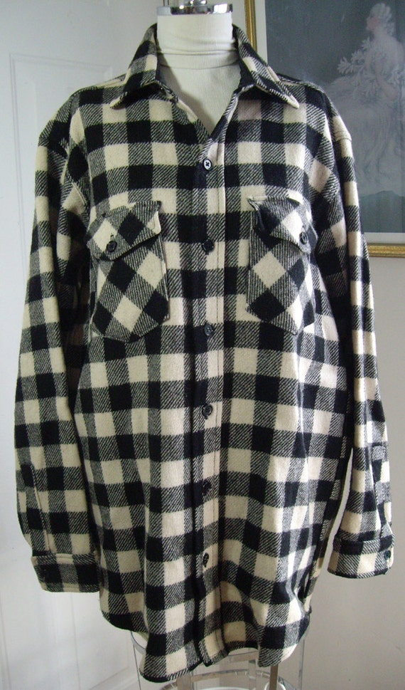 Vintage 1980s Woolrich Black And White Plaid Shirt Classic
