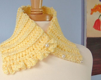 Yellow Neckwarmer Daffodil Scarflette Ruffled Scarf Shiny Pearl Buttons Textured Cowl One of a Kind OOAK Women Fashion Crochet by Lilena