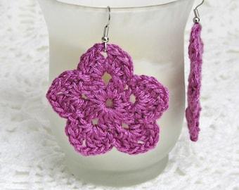 Purple Earrings Dangle Crochet Flower Thread Jewelry Hippie Fashion Lavender Accessories Fabric Art Periwinkle Posy Handmade by Lilena