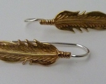 Brass Earrings Feather Style with Sterling Silver Ear Wires