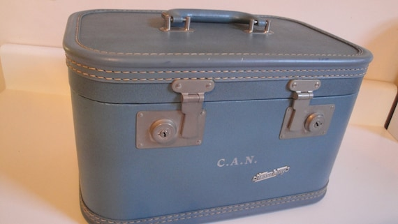 Vintage Blue Travel Joy Train Make Up Case Luggage Hard