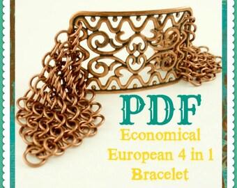 PDF Chainmail Tutorial - Economical European 4 in 1 Bracelet - Beginners