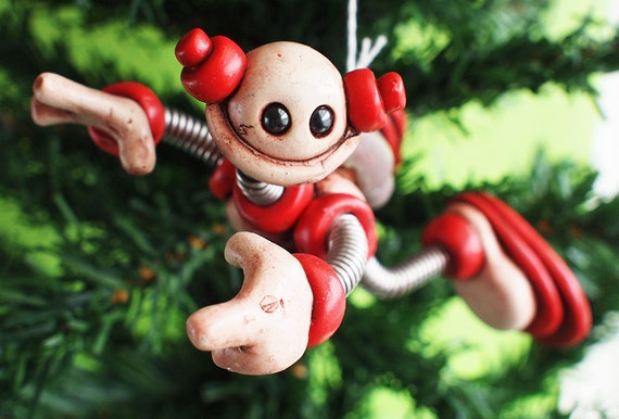 Red Rus JetPack  ROBOT CHRISTMAS ORNAMENT Clay, Wire, Paint