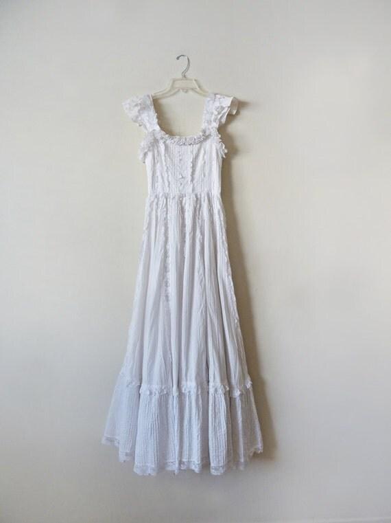 70s white gunne sax maxi prairie wedding dress for Gunne sax wedding dresses
