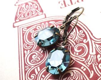 Blue Swarovski Crystals ~ Indian Sapphire Slate Blue Earrings Swarovski Retro Oval Rhinestones Bride Bridesmaids Boho Holiday Gift for Her