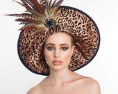Couture Derby Hat with Leopard Prints and feathers