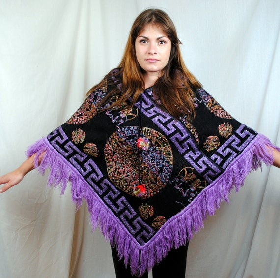 Vintage Boho Sparkle Ethnic Poncho Sweater