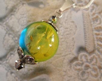 Dandelion Seed Glass Reliquary Terrarium-Sunshine,Blue Sky-Ombre Blue,Yellow-Nature's Art-Gifts Under 30-Symbolizes Happiness, Faithfulness