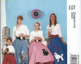 NEW McCall's Costumes Pattern MP 247 Size Child 3-4-5-6 Poodle Skirt