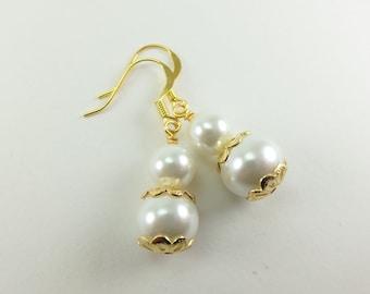 Ivory Earrings Gold Jewelry Wedding Beaded Earrings Bridesmaid Off White Pearl Jewelry