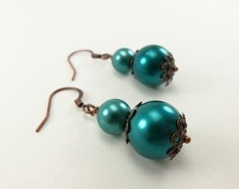 Dark Teal Copper Earrings Teal Dangle Earrings Green Pearl Beaded Earrings Antiqued Copper