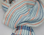 Striped Blue Scarf with Coral Accents - Bamboo and Cotton Handwoven Scarf with Stripes - Natural Fiber Scarf