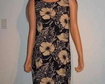 Casual Rayon Long Dress.  Size Medium.  Gorgeous Print.  Navy blue and Tan.