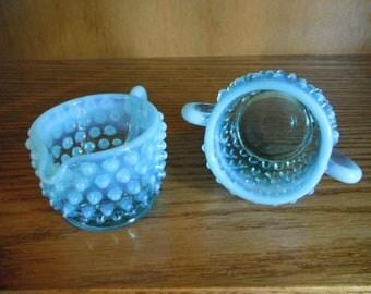 Fenton Opalescent Blue Sugar & Creamer