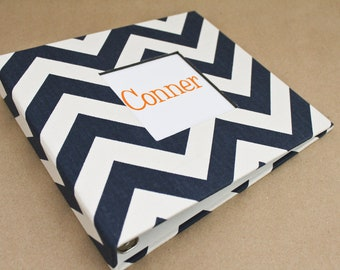 PRE-ORDER // Baby Book, Baby Gift, Baby Album, Baby Memory Book, Baby Keepsake, Modern Baby Book, Navy and White Chevron