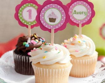 Cupcake Decorations: CUPCAKE TOPPERS - Cupcake Theme Birthday Party - Cupcake Decorations - Cupcake Toppers in Hot Pink and Green