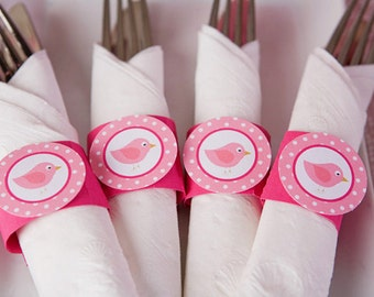 Birdie Birthday Party - Napkin Rings - Silverware Wraps - Bird Party Decorations in Hot & Light Pink (12)