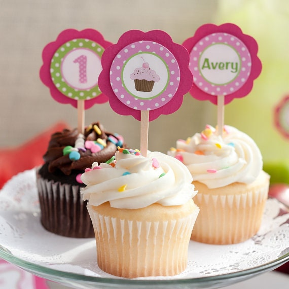 Items Similar To Cupcake Decorations CUPCAKE TOPPERS Theme Birthday Party